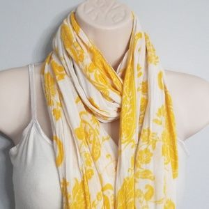 100% Bamboo Scarf Lucky Brand Yellow White Fringe